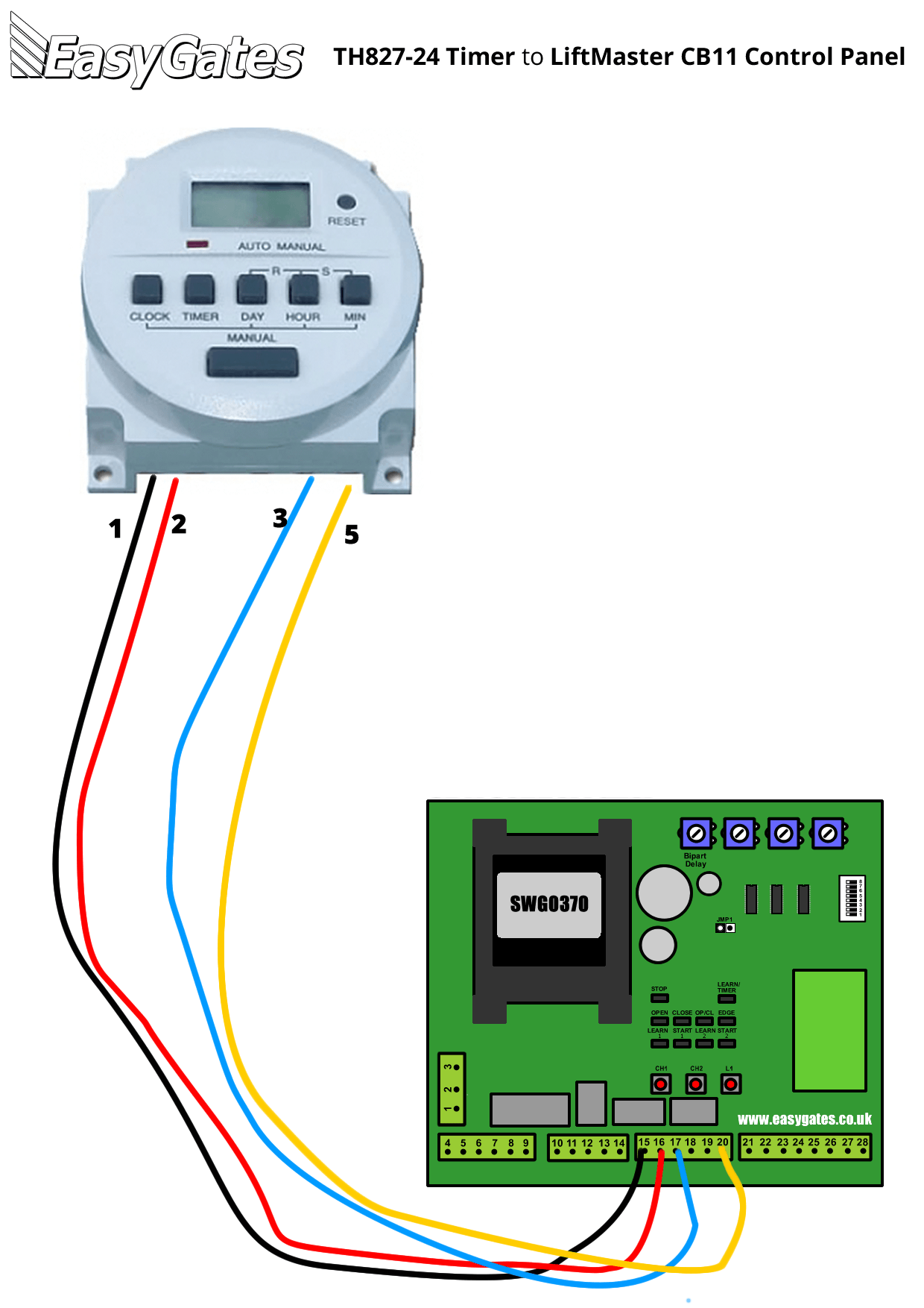 wiring diagram for connecting th827 24 timer to liftmaster cb11 rh manuals easygates co uk Lift Master Garage Door Wire Schematics liftmaster wiring diagram 1/3 hp