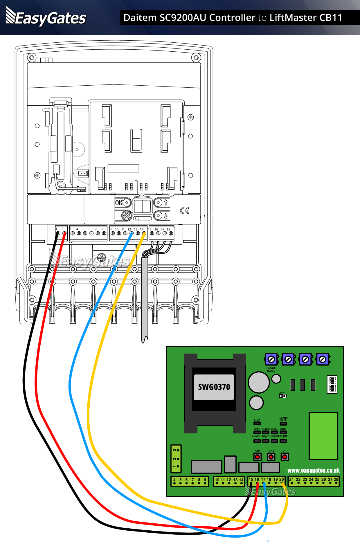 Daitem SC200AU to CB11 Panel flattened chamberlain garage door wiring diagram wirdig readingrat net liftmaster garage door opener wiring schematic at crackthecode.co
