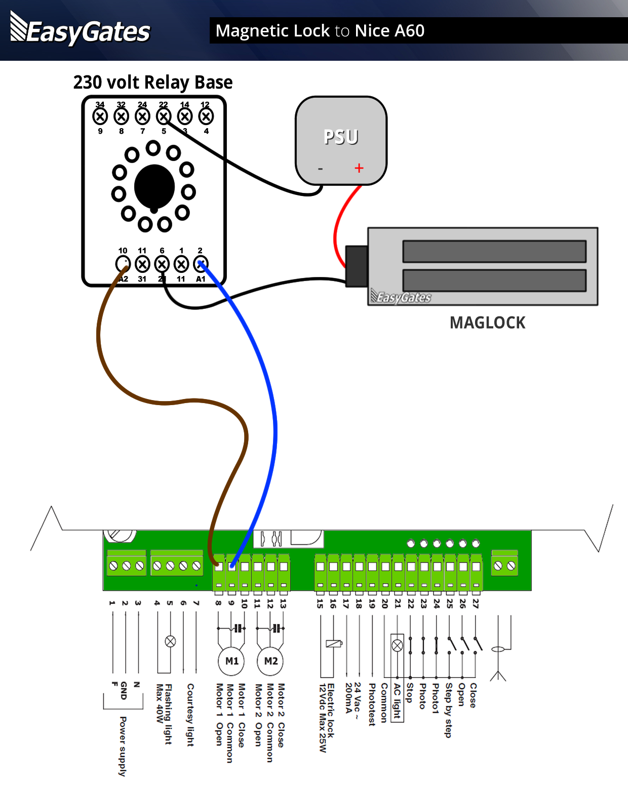 Maglock Nice A60 on security alarm circuit