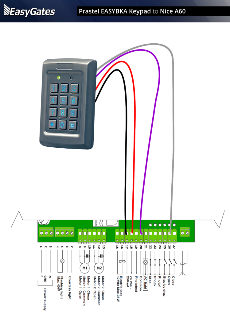 Wiring Diagram For Centurion Keypad : Prastel easybka keypad to nice a control panel