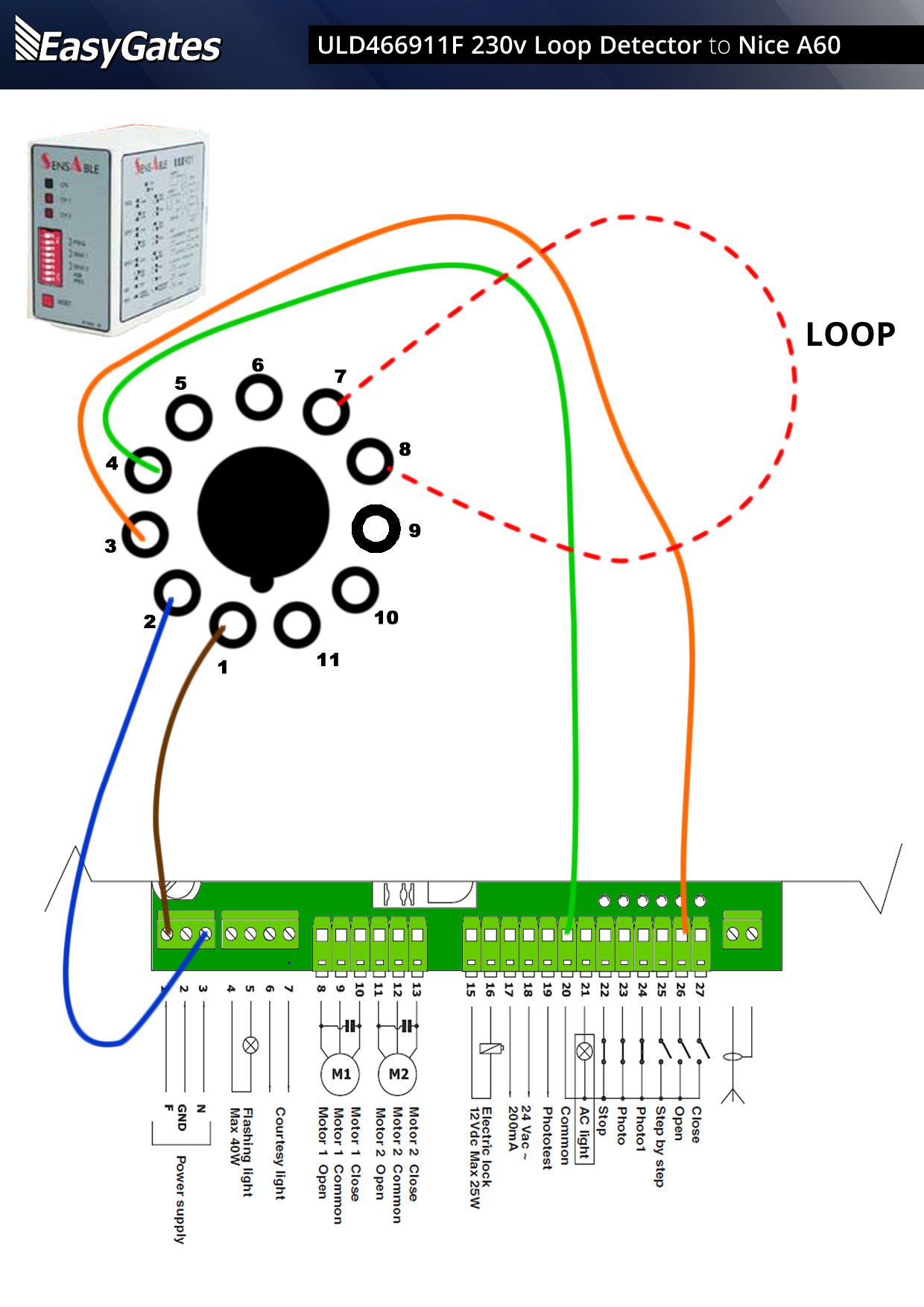 230 volt loop detector to nice a60 control board. Black Bedroom Furniture Sets. Home Design Ideas