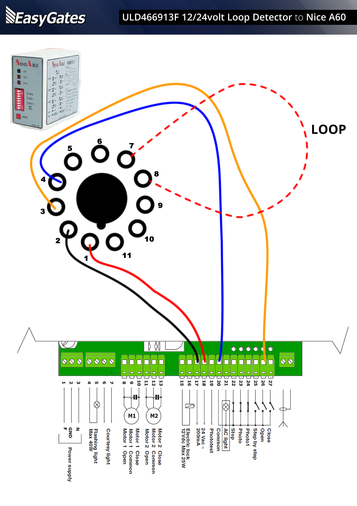 Loop Sensor Wiring Diagram Door Car Diagrams Explained Derbi Senda 12 24 Volt Detector To Nice A60 Control Board Rh Manuals Easygates Co Uk Maf